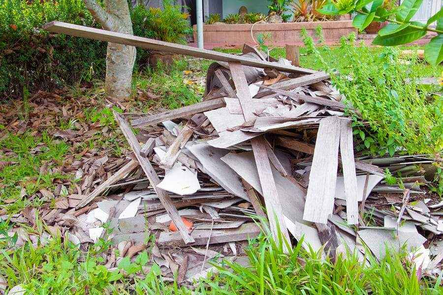 garbage timber pile in construction house renovate site