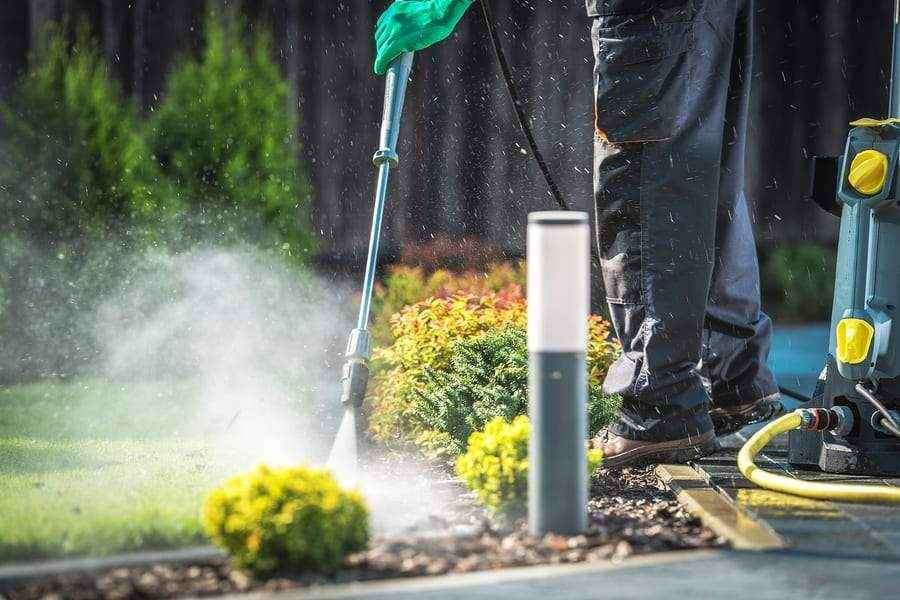 Backyard Garden Paths Cleaning with Pressure Washer.